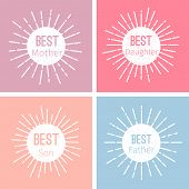 Label Vector Set. Emblem Or Tag For Best Family With Grunge Effect. Illustration Of Best Father And  poster