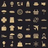 Crossroad Icons Set. Simple Style Of 36 Crossroad Vector Icons For Web For Any Design poster
