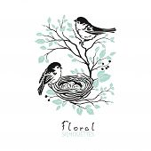 Floral Card With Silhouettes Family Birds On Branches Tree With Leaves And Nest Egg. Vector Romantic poster