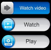 Video blue web buttons for website or app. Vector eps10.