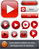 Play red web buttons for website or app. Vector eps10.