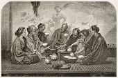 Japanese family meal old illustration. Created by Neuville after photo by unknown author, published