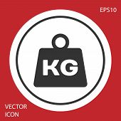 Grey Weight Icon Isolated On Red Background. Kilogram Weight Block For Weight Lifting And Scale. Mas poster