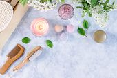 Spa And Bath Accessories With Bath Salts And Beauty Treatment Products On White Table. Wellness Conc poster