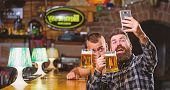 Taking Selfie Concept. Send Selfie To Friends Social Networks. Man In Bar Drinking Beer. Take Selfie poster