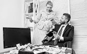 Counting Money Profit. Man Businessman And Woman Secretary With Pile Dollar Banknotes. Profit And Ri poster