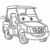 Coloring Page. Colouring Picture. Cute Cartoon Golf Car. Childish Design For Kids Coloring Book. poster