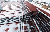 Cable Tray Outside With Telecommunications Cables, Ground Cables, Optic Fiber, Power Cables And Tran poster
