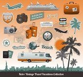 Постер, плакат: Ретро Винтаж путешествия символ коллекция икон