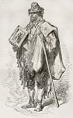 Santero old engraved portrait (Andalusian beggar). Created by Gustave Dore, published on Le Tour Du