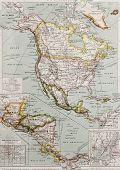 Northern And Central America Old Map, With New York City Insert Map. By Paul Vidal De Lablache, Atla