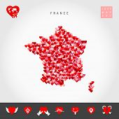I Love France. Red And Pink Hearts Pattern Vector Map Of France Isolated On Grey Background. Love Ic poster