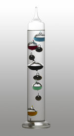 image of galileo-thermometer  - temperature theme showing a Galileo thermometer in gradient back with clipping path - JPG