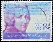 stamp printed in Belgium shows Wolfgang Amadeus Mozart