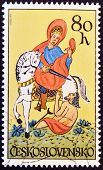 A stamp printed in Czechoslovakia shows St. Martin on horseback