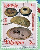 A stamp printed in Ethiopia shows four types of traditional bread of Ethiopia