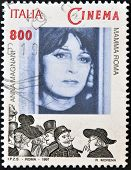 A stamp printed in Italy shows Anna Magnani in the film Mamma Roma