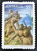 AUSTRALIA - CIRCA 2010: stamp printed in Australia shows Australian troops on the Kokoda Track circa