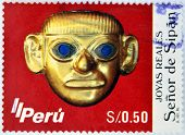 PERU- CIRCA 1987: A stamp printed in Peru shows image of The Lord of Sipan circa 1987.