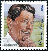 UNITED STATES OF AMERICA - CIRCA 2011: A stamp printed in USA shows image of President Ronald Reagan