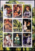 TADJIKISTAN - CIRCA 2001: stamps printed in Tadjikistan shows set of stamps showing nine paintings b