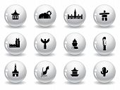 Landmarks and cultures icons poster