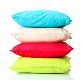 foto of puffy  - Colorful pillows isolated on white - JPG
