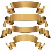 Gold Glossy vector ribbons on a white background