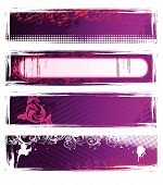 Set Of Vector Pink Grunge Banners