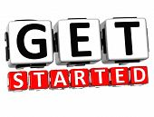 picture of start over  - 3D Get Started Button Click Here Block Text over white background - JPG