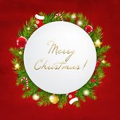 Merry Christmas Festive Card With Gradient Mesh, Vector Illustration