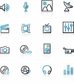 Blue And Grey Contour Media Web Icons