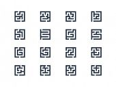Abstract maze symbols