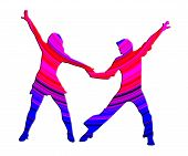 stock photo of jive  - 3D Color Dancing Couple 70s Dance Pose - JPG