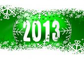 2013 new years illustration with christmas ball and snowflakes on green background