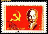 Vintage Postage Stamp.  Portrait Ho Chi Minh .