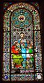 Stained Glass Window Jesus Mary Cana Monastery Montserrat Catalonia
