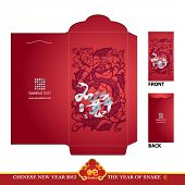 Chinese New Year Red Packet (Ang Pau) Design with Die-cut. Year of Snake. Translation: Good Luck In