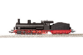 pic of loco  - steam black loco model isolated over white background  - JPG