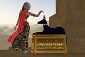 stock photo of anubis  - An Egyptian queen reaches out to touch the very honored god Anubis in the Old Kingdom of Egypt - JPG