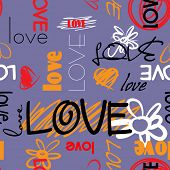 art graffiti vector seamless pattern, background with love, flowers and heart; violet, orange, red,