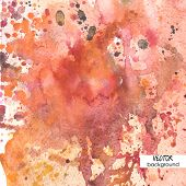 art background with watercolor stains, orange, pink and red vector