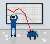 stock photo of waste reduction  - Two men and decreasing graphs on a whiteboard - JPG