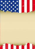 USA scratched vertical flag. A used patriotic US Flag for this poster