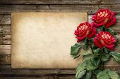 stock photo of bunch roses  - Card for invitation or congratulation with red rose in vintage style - JPG