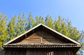 stock photo of gable-roof  - Details of Southern Thai house Gable roof - JPG