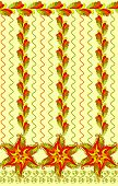 picture of bordure  - seamless pattern with wide border of red sea stars and vertical wavy lines - JPG