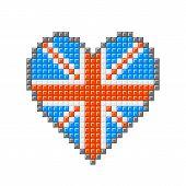 Pixel Block Union Jack Brisith Heart