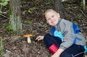 stock photo of face-fungus  - The joyful boy has found an aspen mushroom in wood - JPG