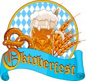 Round Oktoberfest Celebration design with beer, pretzel and wheat ears